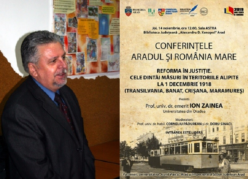 """""""Voci în cetate"""". Prof. univ. dr. emerit Ion Zainea conferențiază la Arad"""