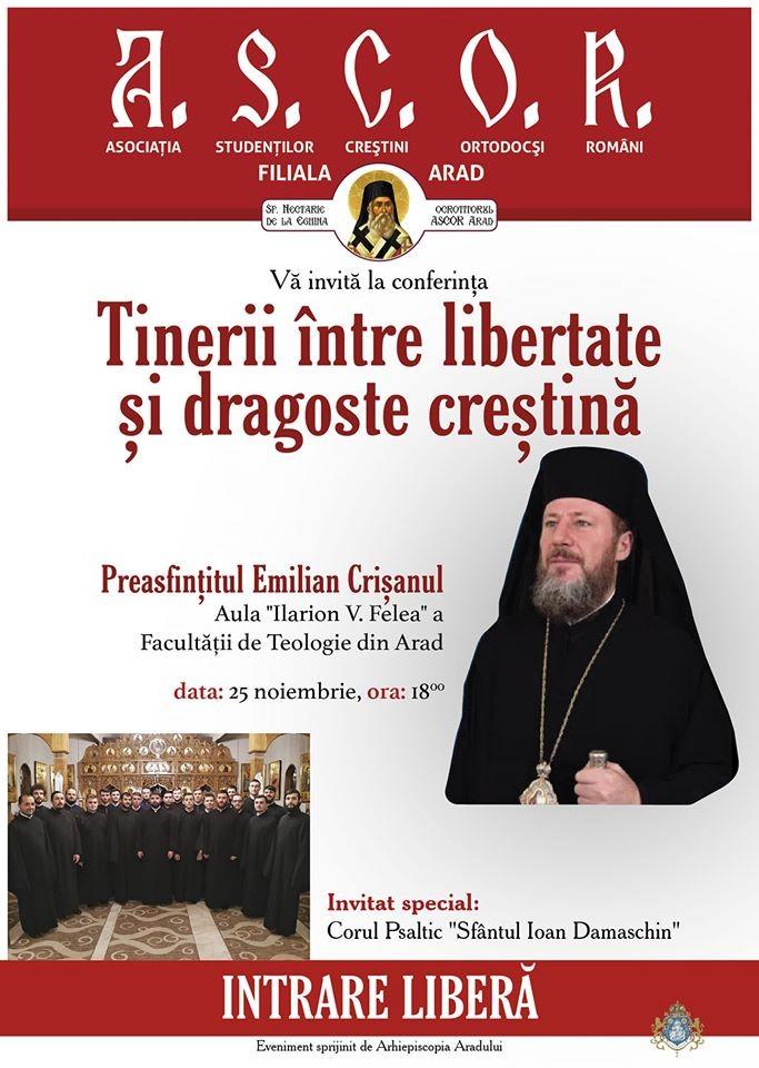 """""""Tinerii între libertate și dragoste creștină"""". Conferință și concert de colinde la Facultatea de Teologie din Arad"""