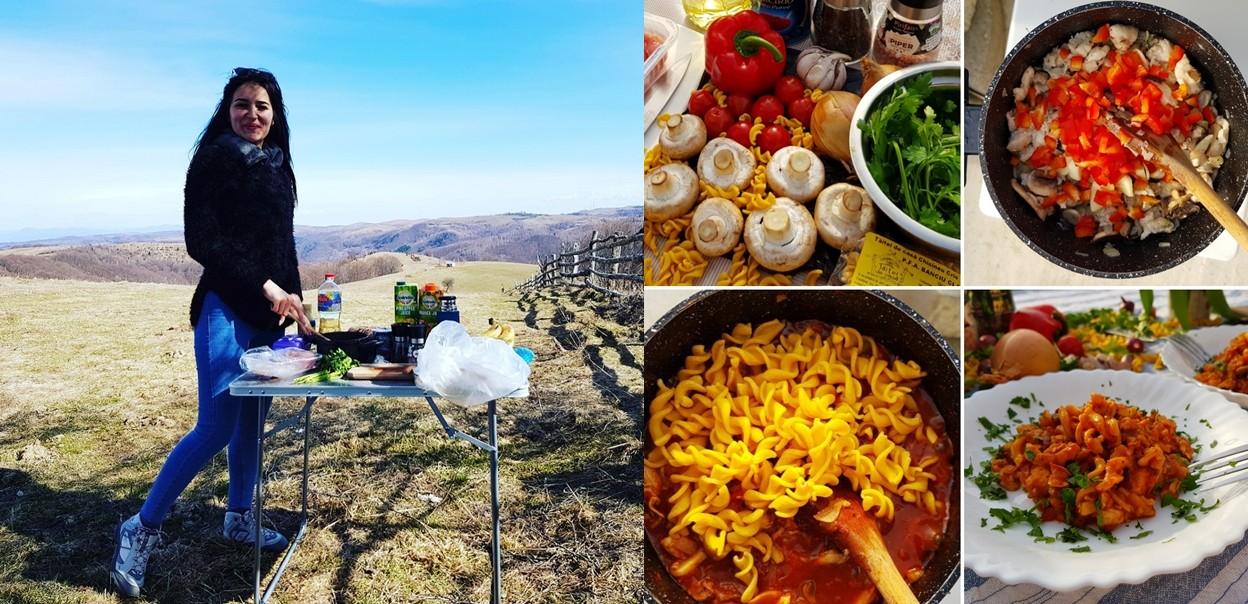 Din Bucătăria Lui Eliss: Paste de casă cu piept de pui și ciuperci, numai bune de gătit în drumeții