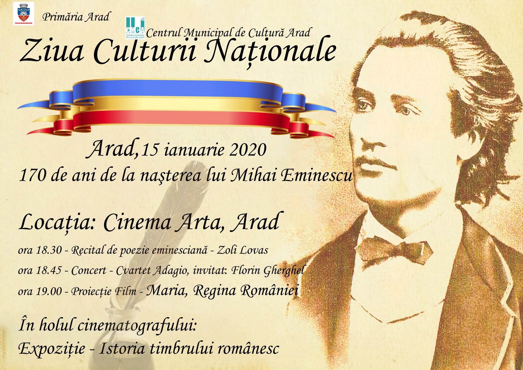 Ziua Culturii Naționale, sărbătorită la Arad. Programul evenimentelor