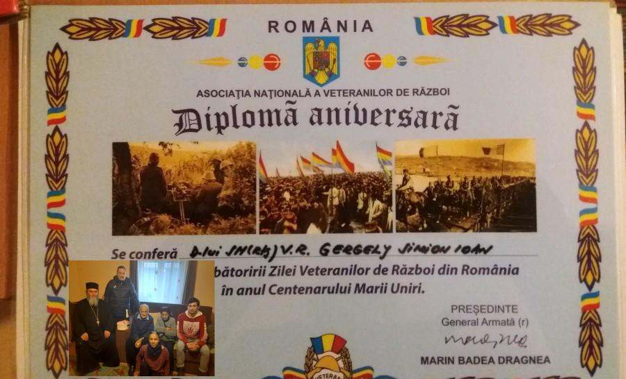 """Gergely Simion Ioan, veteran de război, sărbătorit la 104 ani de elevii Școlii Profesionale """"Astra"""" Arad"""