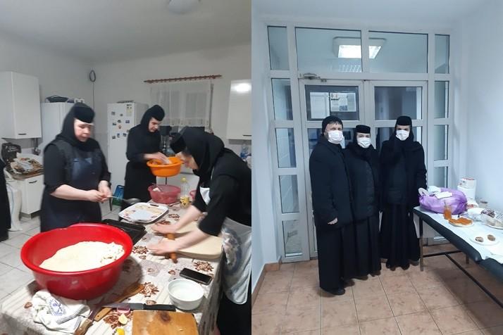 Măicuțele din Mitropolia Banatului duc polițiștilor și medicilor din prima linie ceai cald și alimente