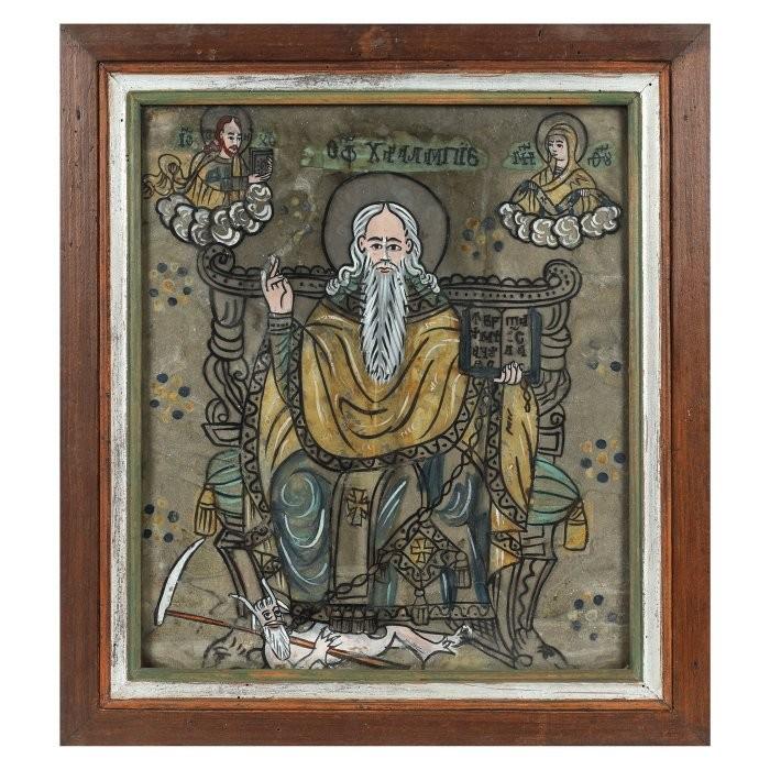 """Icoana """"Sfântul Haralambie pe tron, legând ciuma"""", din colecţia familiei ieşene Sculy Logotheti, scoasă la licitație"""