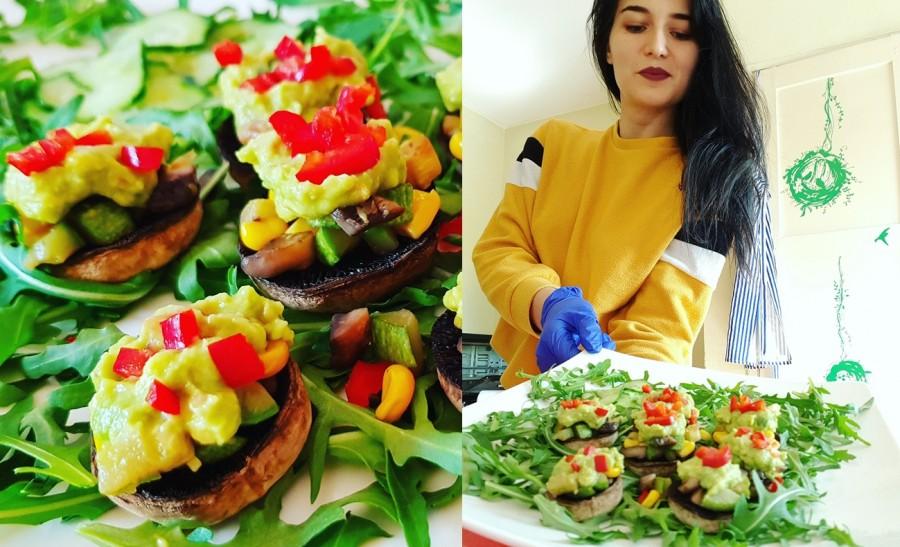 Din Bucătăria Lui Eliss. Ciuperci umplute cu guacamole și salată de rucola cu castravete