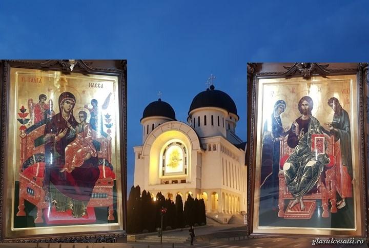 Moaștele Sfântului Ioan Gură de Aur și Icoanele de la Muntele Athos din Catedrala Arhiepiscopală, scoase în procesiune pentru ajutor în lupta cu pandemia