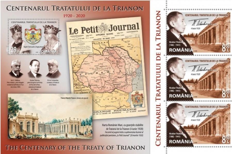 Centenarul Tratatului de la Trianon, marcat de Romfilatelia printr-o emisiune de mărci poștale