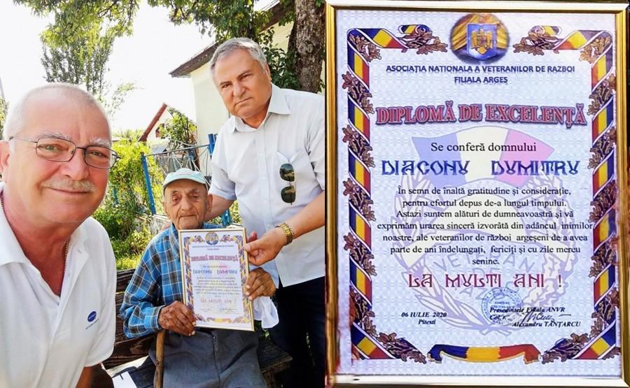 Veteranul de război Dumitru Diaconu, sărbătorit la împlinirea vârstei de 100 de ani