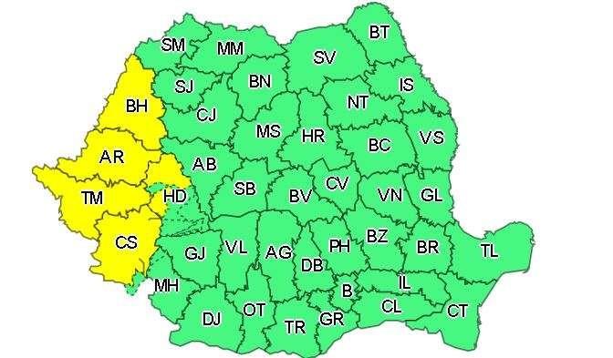 Cod galben de ploi și vijelii în 5 județe din vestul țării