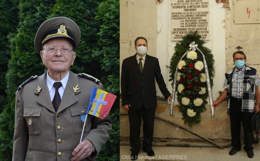 Eroii şi veteranii Regimentului 6 Artilerie Grea Român, comemorați în absența singurului supraviețuitor - Constantin Călina