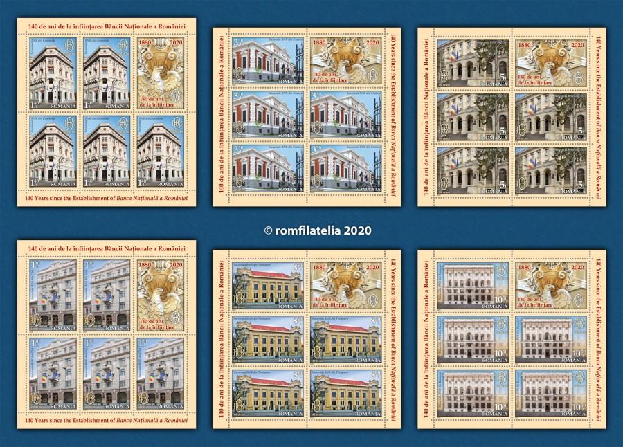 Emisiunea de mărci poștale dedicată împlinirii a 140 de ani de la înfiinţarea BNR, pusă în circulație de Romfilatelia