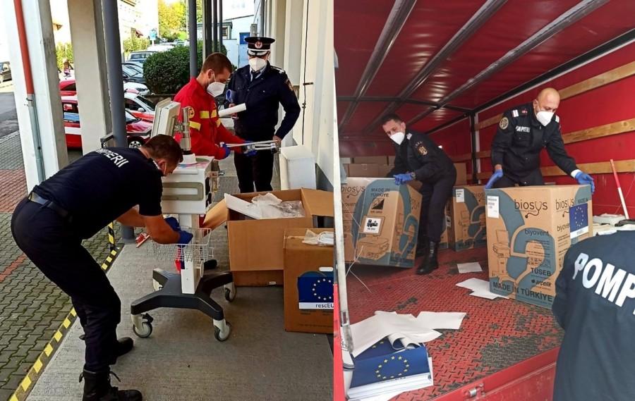 Șase pompieri arădeni și un medic, în misiune umanitară în Cehia