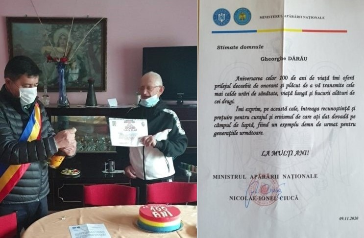 Sărbătoare la Hălmagiu! Veteranul de război Gheorghe Dărău a împlinit 100 de ani