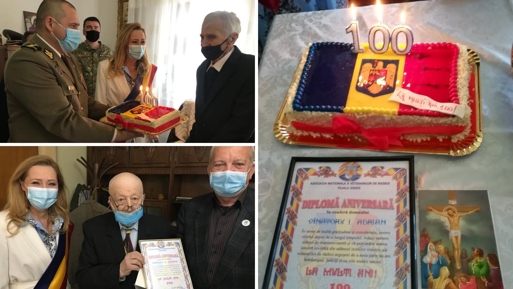 100 de ani trăiţi cu demnitate! Veteranii de război Benone Bădescu și Adrian Vînătoru, sărbătoriți la centenar