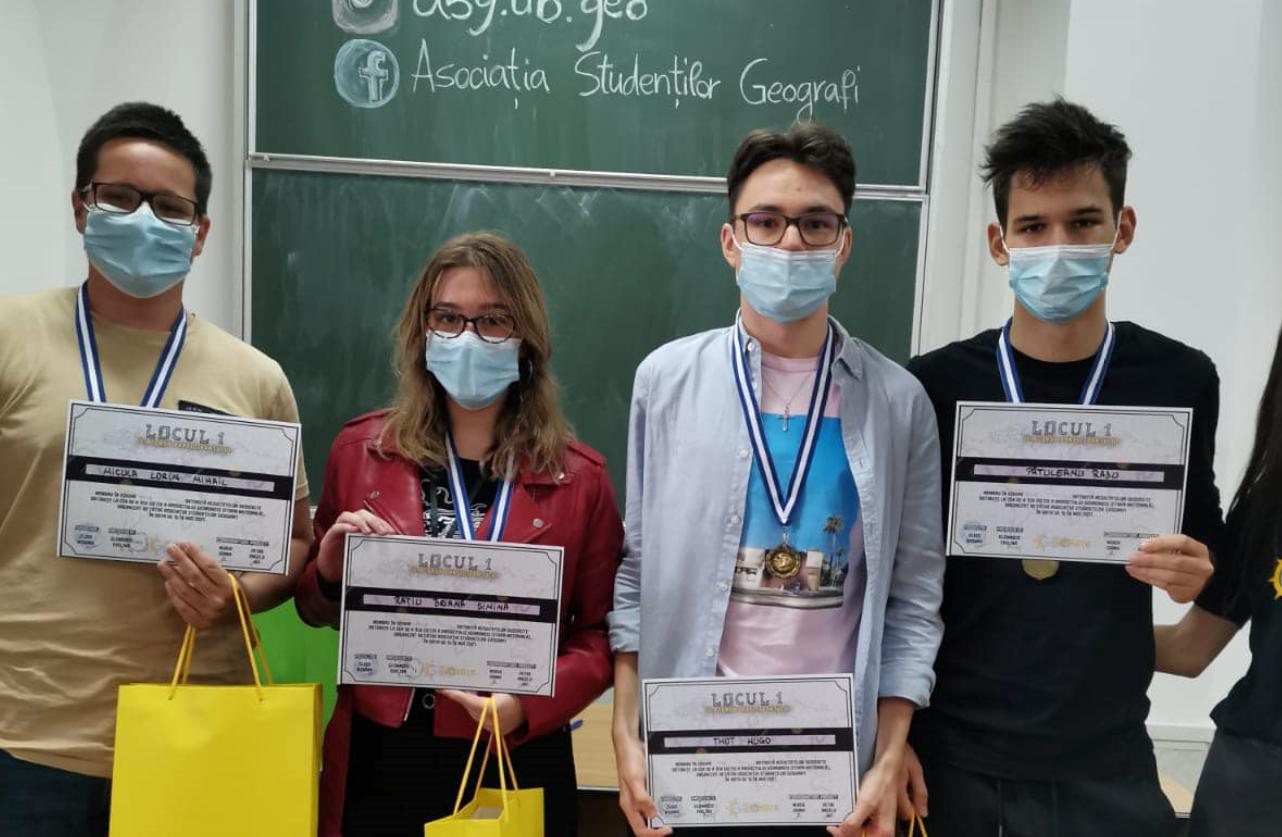 """Performanță chiar și în pandemie! Echipa Colegiului Național """"Moise Nicoară"""" a obținut locul I, la faza națională a concursului Geomondis"""