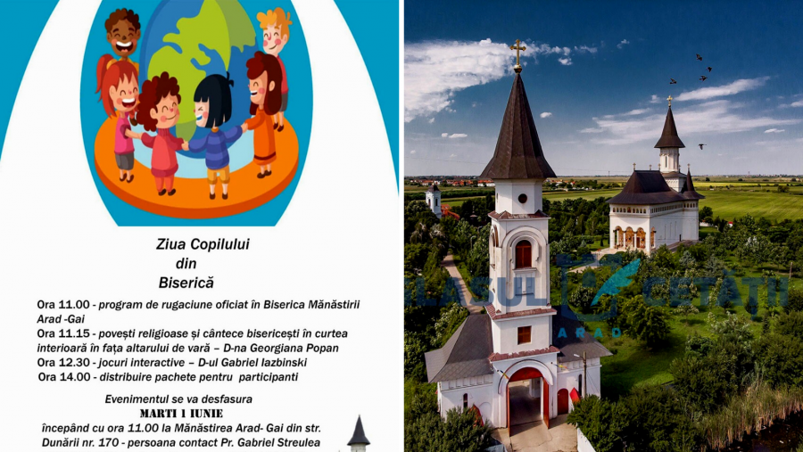 Program inedit organizat de Arhiepiscopia Aradului la Mănăstirea Gai, marți, de Ziua Copilului