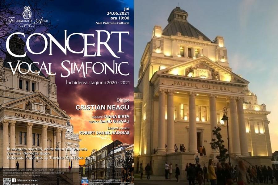 Concert Vocal Simfonic în închiderea Stagiunii 2020-2021 la Filarmonica Arad
