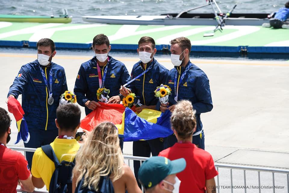 Încă o medalie de argint pentru România la Tokyo! Canotorii la 4 rame fără cârmaci, vicecampioni mondiali