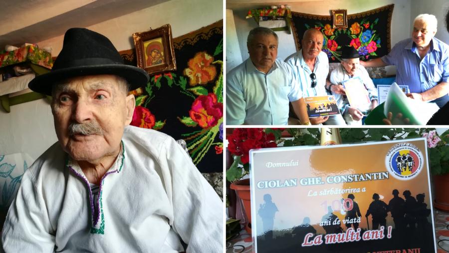 Veteranul de război Constantin Ciolan, sărbătorit la împlinirea vârstei de 100 de ani