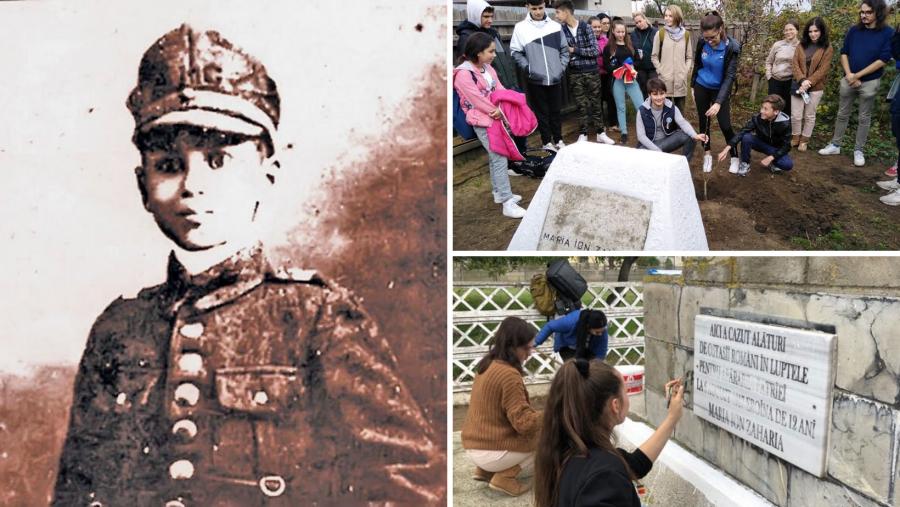 Măriuca Zaharia, copila-erou scoasă din manualele de istorie, prezentă în inimile unui grup de elevi care i-au îngrijit cele două monumente din Mărășești