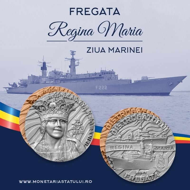 """Forțele Navale Române lansează medalia aniversară """"Ziua Marinei – Fregata Regina Maria"""""""