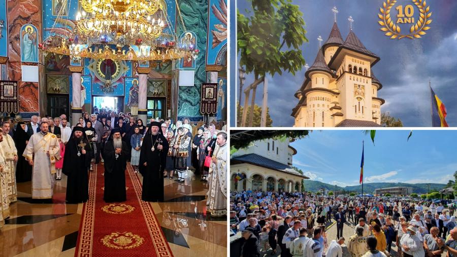 Catedrala Ortodoxă din Gura Humorului a împlinit astăzi 10 ani de la sfințire. Preasfințitul Emilian Crișanul, prezent în mijlocul credincioșilor suceveni