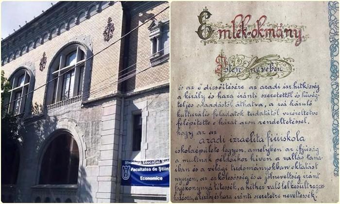Document vechi de peste un secol, descoperit în peretele unei foste şcoli din Arad
