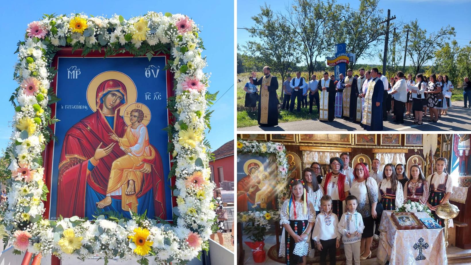 Maica Domnului, Grabnic Ascultătoare credincioșilor din Hășmaș. Astăzi au primit o copie a Icoanei Făcătoare de Minuni din Muntele Athos (FOTO)