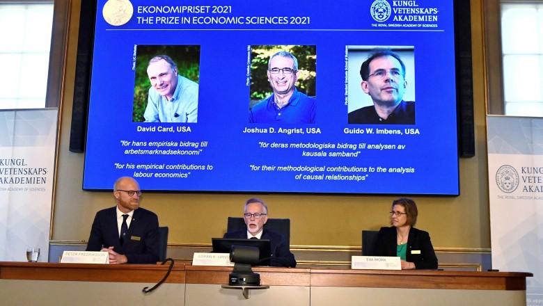 Premiul Nobel pentru Economie, câștigat în 2021 de cercetătorii David Card, Joshua Angrist și Guido Imbens