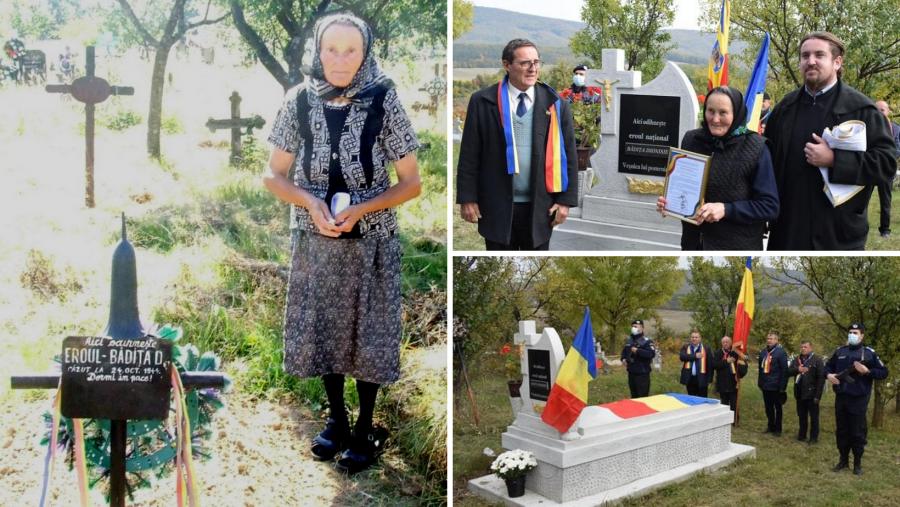 """""""Pentru că așa mi-a spus mama"""". Tanti Florica a îngrijit un sfert de secol mormântul unui sergent necunoscut"""